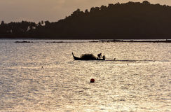 Fisherman silhouette in Thailand Royalty Free Stock Photography
