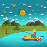 Fisherman sitting in the boat and fishing Royalty Free Stock Image