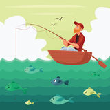 Fisherman sitting in the boat. Vector illustration multyashnaya comical, red bearded man seated fisherman with a fishing rod in the boat on the river, hunting vector illustration