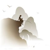 Fisherman. Sitting on a rock on a background of hills in the fog Stock Illustration