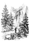 Fisherman sketch Stock Images