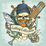Fisherman skull logo design - Sailing Collection Stock Photo
