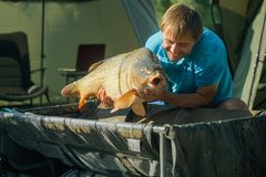 Fisherman smile with carp in fishing camp. Happy man with big fish in hands. Trophy, success, achievement. Carp fishing, angling, fish catching. Hobby, sport stock photography