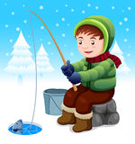 Fisherman in snow Royalty Free Stock Images