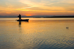 Fisherman. splash Royalty Free Stock Images