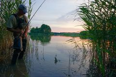 Fisherman. Standing in the lake and catching the fish Royalty Free Stock Image
