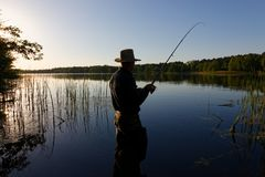 Fisherman. Standing in the lake and catching the fish on sunny day stock photo