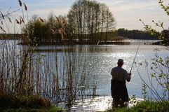 Fisherman. Standing in the Lake at Sunny Day Royalty Free Stock Photography