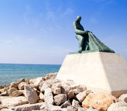 Fisherman statue in Salou Beach at Catalonia Royalty Free Stock Images