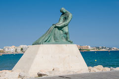 Fisherman statue in Salou Beach at Catalonia Stock Photo