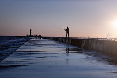 A fisherman in summer Royalty Free Stock Image