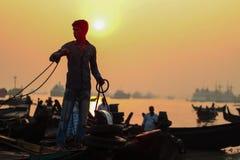 Fisherman. At Sunset royalty free stock photos