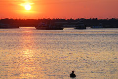 Fisherman at Sunset stock photography