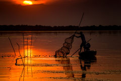 Fisherman at sunset. A fisherman from Danube Delta, checking his fishing nets at sunset Royalty Free Stock Photo