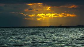 Fisherman and sunset. And the Sea stock footage