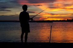 Fisherman sunset Royalty Free Stock Image