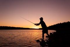 Fisherman at Sunset Royalty Free Stock Photography