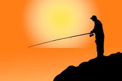 Fisherman at the sunset vector illustration  Royalty Free Stock Images