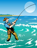 Fisherman surf fishing. Vector illustration of a surf fisherman casting his rod with sea and island in the background Stock Image