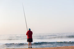 Fisherman Surf Waves Sunrise Beach Holidays Stock Image