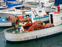 Fisherman system networks on the small boat moored in the harbor Royalty Free Stock Photography