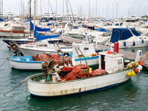 Fisherman system networks on the small boat moored in the harbor Stock Image