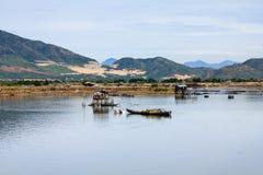 Fisherman at Tac river, Nha Trang, Khanh Hoa, Vietnam Royalty Free Stock Images