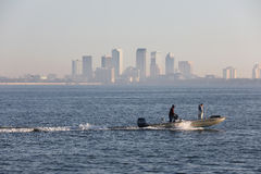 Fisherman in Tampa on boat Stock Photos