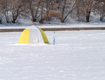 Fisherman tent on frozen river Royalty Free Stock Photos