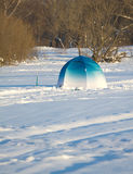 Fisherman tent on frozen river Royalty Free Stock Image