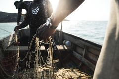 A fisherman with their net in Cabo de la vela stock photo