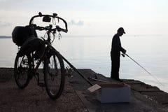 Fisherman in Thermaikos - Thessaloniki, Greece Royalty Free Stock Image