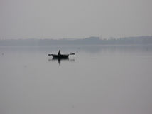 FISHERMAN THREE. Lake Miedwie near Szczecin.OLYMPUS DIGITAL CAMERA royalty free stock photography