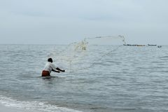 Fisherman throws out his net Stock Images
