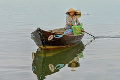 Fisherman at the Thu Bòn River in Hoi An, Vietnam Royalty Free Stock Image