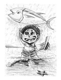 Fisherman with Tuna fish Omeca 3 pencil stroke drawn. Little tribe boy character design of barbarian, He very happy to catch the big tuna fish, Then throwing it Stock Photo
