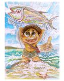 Fisherman and Tuna fish Omeca 3 vintage water color painting. Little tribe boy character design of barbarian, He very happy to catch the big tuna fish, Then Royalty Free Stock Photography