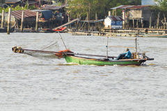 The fisherman use the the traditional boat Royalty Free Stock Photos