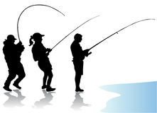 Fisherman vector. Fisherman silhouettes black vector illustration Stock Images
