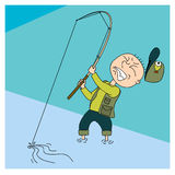 03fisherman. Vector cartoon illustration of a man who drags the fish vector illustration