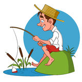 Fisherman. Vector illustration. funny child Stock Image
