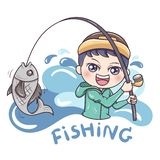 Fisherman_vetor_1 stock illustrationer