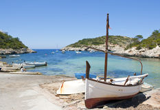 Fisherman village. Boat on a small port in in the mediterranean sea Royalty Free Stock Photos