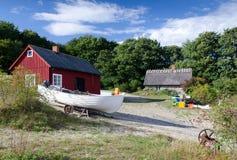 Fisherman village. Idyllic Swedish fisherman village on a sea coast royalty free stock photo