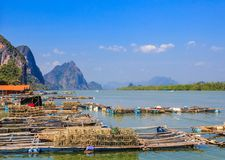 Fisherman village. Floating in sea, Thailand Royalty Free Stock Images