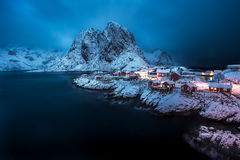 The fisherman village Hamnoy on Lofoten Islands by night, Norway Royalty Free Stock Photos