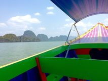 Inside Travel long boat at Andaman sea in Thailand.  Royalty Free Stock Images