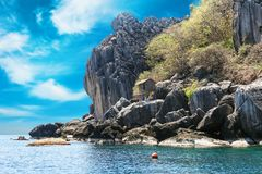 The fisherman village placed on the big rock, Moo Koh Chumphon, Chumohon province, Thailand. Bird's Nest Collectors' Bungalows p Royalty Free Stock Photo