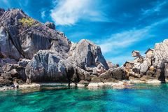 The fisherman village placed on the big rock, Moo Koh Chumphon, Chumohon province, Thailand. Bird's Nest Collectors' Bungalows p Royalty Free Stock Photos