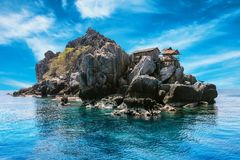 The fisherman village placed on the big rock, Moo Koh Chumphon, Chumohon province, Thailand. Bird's Nest Collectors' Bungalows p Royalty Free Stock Photography